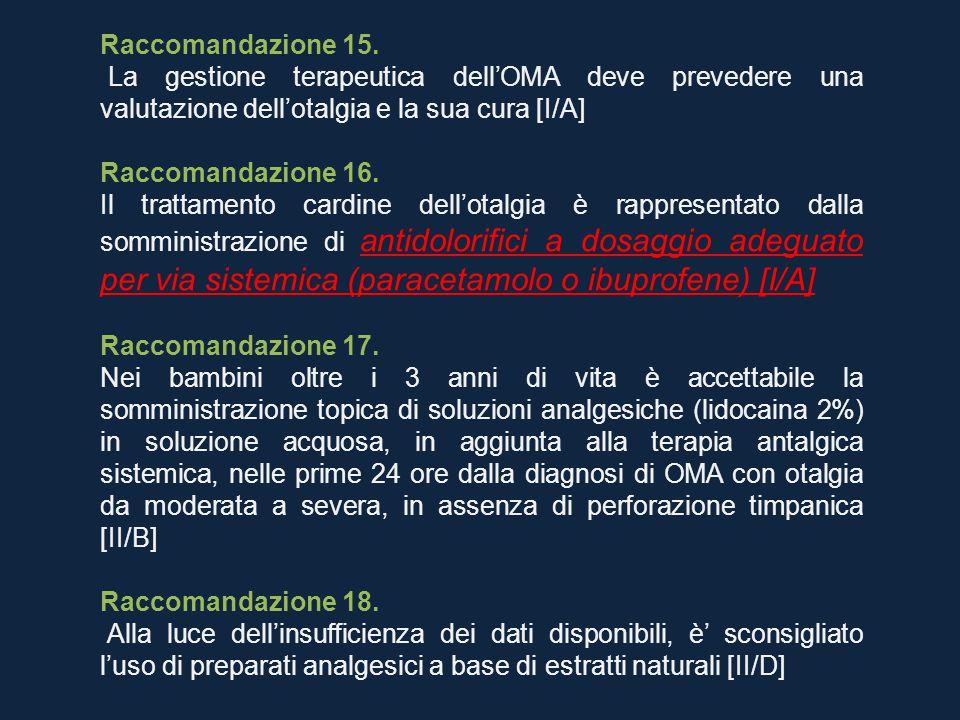 Raccomandazione 15. La gestione terapeutica dell'OMA deve prevedere una valutazione dell'otalgia e la sua cura [I/A]